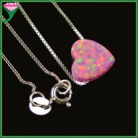 Wholesale wholesale 925 sterling silver chains synthetic opal heart shaped pendants charms from china suppliers