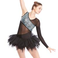 China MiDee V-Neck One-Sleeve Leotard with Lace Inserted Tutu Skirt Ballet Dance Costume Dress for sale