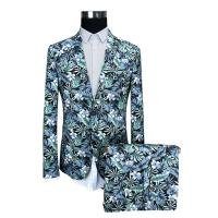 China Blue Floral Printed Suits For Mens Slim Fit Including Jacket Trousers And Shorts on sale