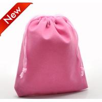 Quality Light color Velvet Drawstring Bag , velour pouch for packing Hot Stamp for sale