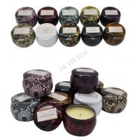 Wholesale 598g Printed Small Round Containers With Lids / Little Metal Boxes For Candle from china suppliers