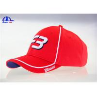 Wholesale 100% Polymesh 6 Panel Red Custom Baseball Caps With White Piping and 3D Embroidery from china suppliers