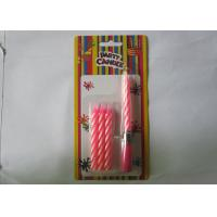Wholesale Sweet Pink Musical Birthday Candle , 8CM Length Pillar Striped Birthday Candles from china suppliers