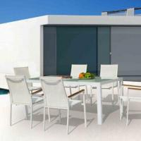 Wholesale Outdoor dining table set with aluminum, glass top, textilene sling/patio garden furniture from china suppliers