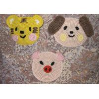 Wholesale Animal Shaped Round Crochet Floor Rug , 12cm Kids Cartoon Crochet Place Mat from china suppliers