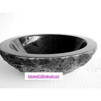 Quality round black natural stone bathroom wash basin for sale