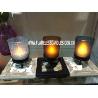 Wholesale Hotel or Home Decoration Glass Votive Candles with Metal Holder and Wooden Tray from china suppliers