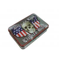 Wholesale Skull Shape USA Map Printed Metal Tin Cans Embossing Rolled Out Line from china suppliers