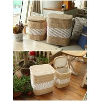 Quality Storage basket wood cabinet rush and willow laundry basket for sale