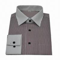 China Men's Long-sleeved Shirt in Stripe Pattern, Customized Styles are Accepted, Made of 100% Cotton  on sale