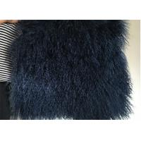Wholesale Navy Blue Real Mongolian Lambskin Rug Car Chair Seat Covers With Long Curly Hair from china suppliers