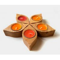 Wholesale Elegant Wooden Candle Base / Shelf , Decorative Dark Wooden Candle Holders Set from china suppliers