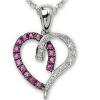 Wholesale Pendant Pink Sapphire & Diamond Heart Pendant & Black Rhodium from china suppliers