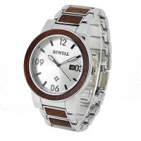 Wholesale 5 ATM Waterproof Men Wood And Steel Watches , Red Sandalwood And Ss Eco Friendly Watches from china suppliers
