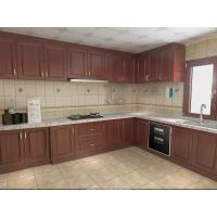 Wholesale Wooden Grain Cherry Wood Pvc Villa Kitchen Cabinets Traditional L - Shape For Home from china suppliers