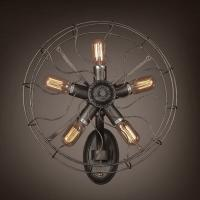 Wholesale E27 Decorative Wall Sconce Nostalgic Artistic Dining Room Industrial Wrought Iron Fan from china suppliers