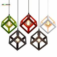 Wholesale Vintage Cube Pendant Lights Northern Europe Industrial Iron Lightings For Cafe & Bar Retro Edison Loft   Pendant Lamps from china suppliers