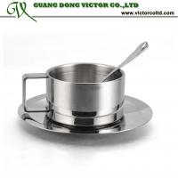 Buy cheap Promotion Coffee Tea cup set Double Wall Metal Coffee Mug Stainless Steel 18/8 Cup With dish from wholesalers