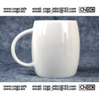 Wholesale Beer barrel white ceramic beer mug custom advertising LOGO for your design from china suppliers