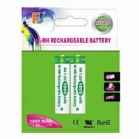 Wholesale NiMH AA 1,800mAh Rechargeable Batteries with Rated Voltage of 1.2V from china suppliers