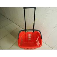 Wholesale Plastic Drawer Shopping Basket With Wheels / Extendable Handle For Grocery from china suppliers