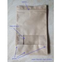 Quality Laminated Brown Craft Paper Bags With Transparent Window In Front For Garment for sale