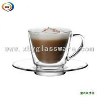 Wholesale 200ml glass double wall cup with handle & saucer from china suppliers