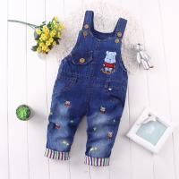 Wholesale Korean Style 100 Percent Cotton Kids Overall Jeans Cute Bear Pattern Medium Wash from china suppliers