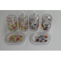 Wholesale Clear Bathroom Set With Lotion Bottle , Toothbrush Holder , Soap Box from china suppliers