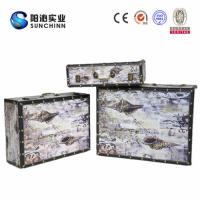 Canvas Printing Wooden Suitcase/Wedding Card Box/Storage Box/ Trunk