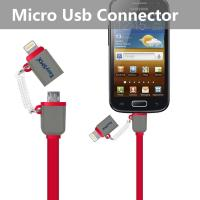 Wholesale Red Cell Phone Usb Cable With Lightning Connector And Micro Usb Connector from china suppliers