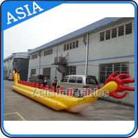 Quality Yellow Dragon Banana Shaped Inflatable Boats 12 Person Water Sport Games For Adult for sale