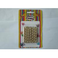 Wholesale Luxury Metallic Gold Birthday Candles / Screw Swirl Birthday Candles Dripless ISO Certificated from china suppliers