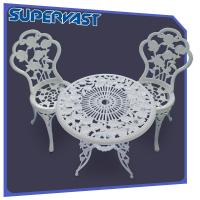 Wholesale White 3pc Cast Aluminum Patio Furniture Rose Pattern Chat Set KD Style from china suppliers
