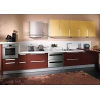 Wholesale Simple Small Formica Painting Wood Laminate Kitchen Cabinets Wine Red And Yellow Color from china suppliers