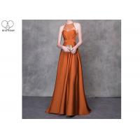Orange A Line Ball Gown Colorful Heavy Beading Floor Length See Through Style for sale
