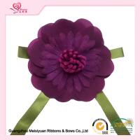 Buy cheap Artificial Handmade fabric flowers With Purple Ribbon Bows 8cm Size from wholesalers