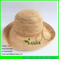 Wholesale LDMZ-002 natural raffia crocheted straw hats with braid from china suppliers