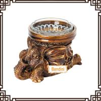 Wholesale creative resin animal antique elephant ashtray New Type poly resin ashtray DA0339GE from china suppliers