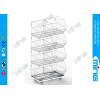 Wholesale 4 Layers Storage Wire Dump Bins Stacking Basket in Zinc Plating from china suppliers