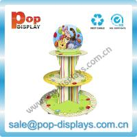 Wholesale Corrugated 3 Tiers Floor Paper Cupcake Display Stands with Header from china suppliers