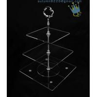 Wholesale CD (42) 3-layer cake stand with silver stick from china suppliers