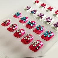 Quality Red Pulple Blue Glitter Diamond Fake Nails Salon Cute Flower Art Nail for sale