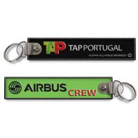 Wholesale Air TAP Portugal Airbus Crew Aviation Keytags Zipper Pull Woven Embroidered Keychain from china suppliers