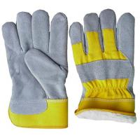 Wholesale Mens cow split leather  Winter Work Gloves with yellow drill cotton back 603CBYPL from china suppliers