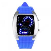 Buy cheap Cool Car Meter Dial Unisex Blue Flash Dot Matrix LED Racing Watch Dark Blue from wholesalers
