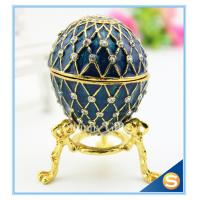Quality Handmade Enamel metal decorative egg boxes with diamond for sale