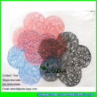 Quality LUDA wholesale promotion tabel mat manhandmade paper straw placemat flower hot placemat for sale
