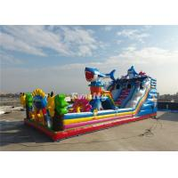 Wholesale New Design 14M*8M*4M 0.55MM PVC Tarpaulin inflatable Fun city with slide from china suppliers
