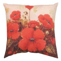 Wholesale Garden Red Poppy Outdoor Decorative Pillows , Decorative Sofa Pillows from china suppliers